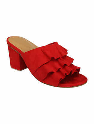 Red Handcrafted Block Heels
