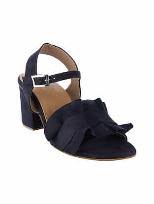 Navy Blue Handcrafted Block Heel Sandals