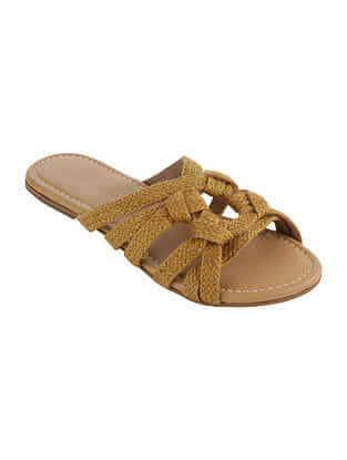 Yellow Handcrafted Jute Flats