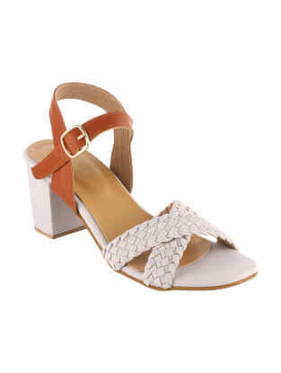 White-Brown Handcrafted Block Heel Sandals