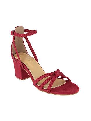 Maroon Handcrafted Block Heels