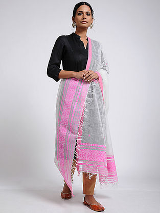 Ivory Pink Cotton Dupatta