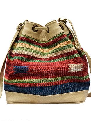 Yellow-Multicolored Handwoven Wool Kilim Bucket Bag