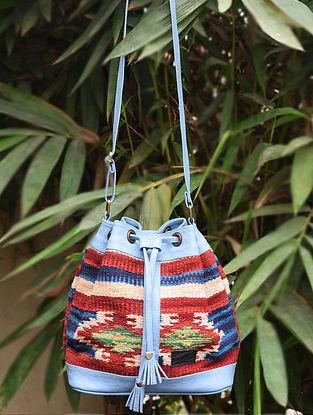 Blue-Multicolored Handwoven Wool Kilim Bucket Bag