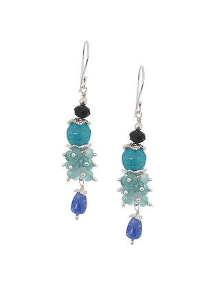 Blue Jade and Black Spinel Beaded Silver Earrings