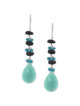 Green Amazonite, Blue Jade and Black Spinel Beaded Silver Earrings