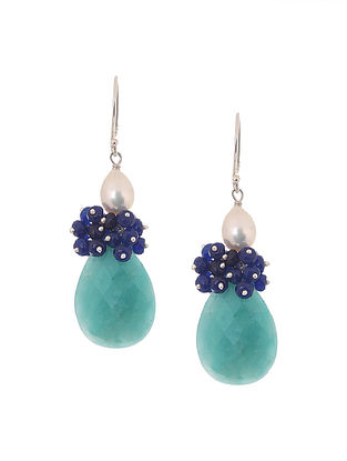 Green Amazonite, Blue Jade and Freshwater Pearl Beaded Silver Earrings