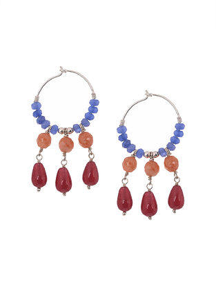Blue, Orange and Red Jade Beaded Silver Earrings