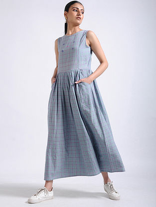 Grey Checkered Hand-embroidered Handwoven Cotton Long Dress