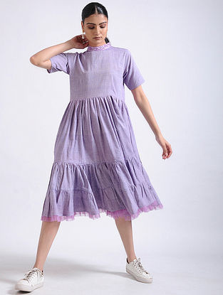 Lavender Tiered Handwoven Cotton Dress