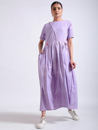 Lavender Hand-embroidered Handwoven Cotton Long Dress