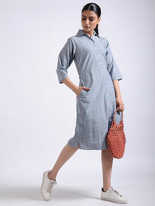 Grey Checkered Handwoven Cotton Shirt Dress