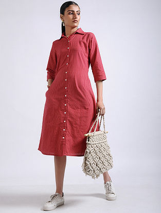 Red Striped Handwoven Cotton Shirt Dress