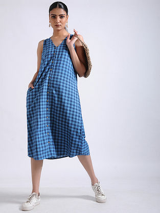 Blue Checkered Handwoven Cotton Dress