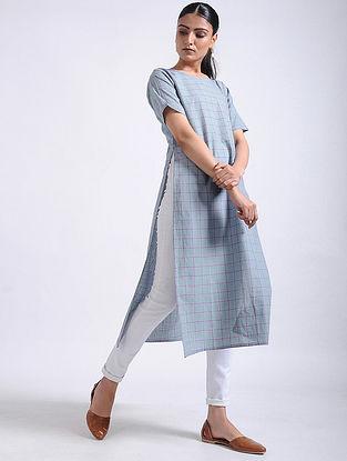 Grey Checkered Handwoven Cotton Tunic
