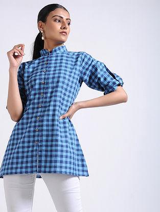 Blue Checkered Handwoven Cotton Top
