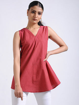 Red Striped Handwoven Cotton Flared Top