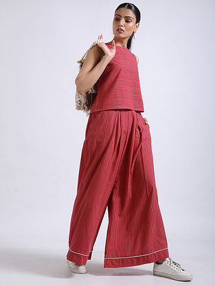 Red Striped Handwoven Cotton Crop Top with Palazzos (Set of 2)
