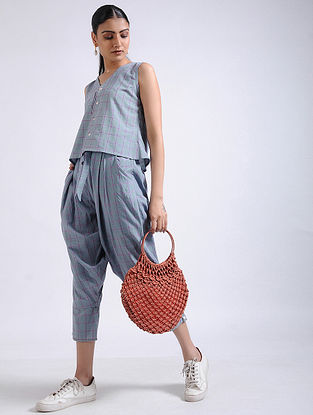 Grey Checkered Handwoven Cotton Crop Top with Pants (Set of 2)