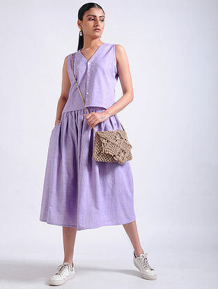Lavender Handwoven Cotton Crop Top with Skirt (Set of 2)