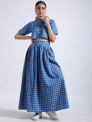 Blue Checkered Handwoven Cotton Crop Top with Skirt (Set of 2)
