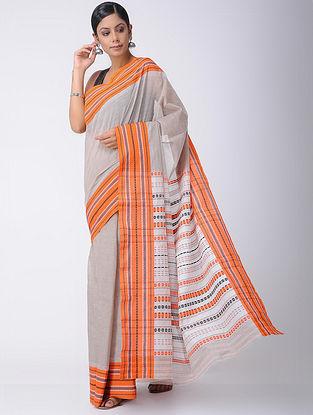 Grey-Orange Cotton Saree