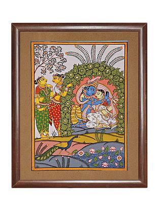 Radha Krishna Pattachitra Artwork on Paper (14in x 11in)