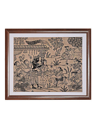 Six Seasons Pattachitra Artwork on Tussar Silk (14in x 15in)