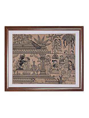 Six Seasons Pattachitra Artwork on Tussar Silk (14n x 15in)