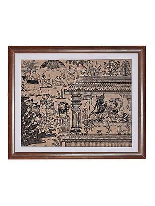 Six Seasons Pattachitra Artwork on Tussar Silk (14in x 16in)