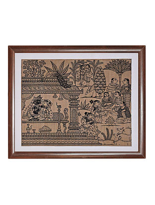 Six Seasons Pattachitra Artwork on Tussar Silk (14in x 16in)