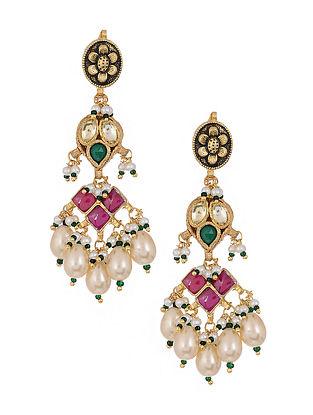 Multicolored Kundan Inspired Gold Tone Brass Earrings