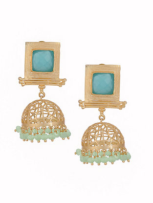 Blue Gold Tone Brass Jhumkis with Filigree Work