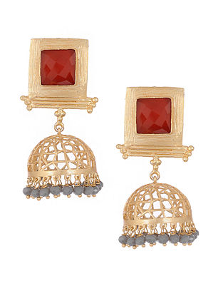 Red Gold Tone Brass Jhumkis with Filigree Work