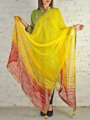 Yellow-Orange Gota Patti Chiffon Dupatta
