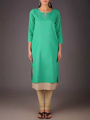 Green-Beige Cotton Layered Kurta