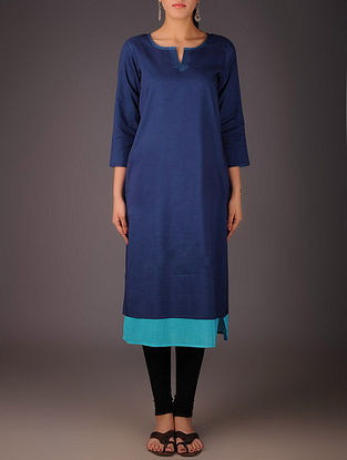 Navy-Turquoise Cotton Layered Kurta