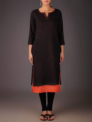 Black-Orange Cotton Layered Kurta