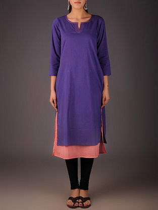 Purple-Shell Pink Cotton Layered Kurta