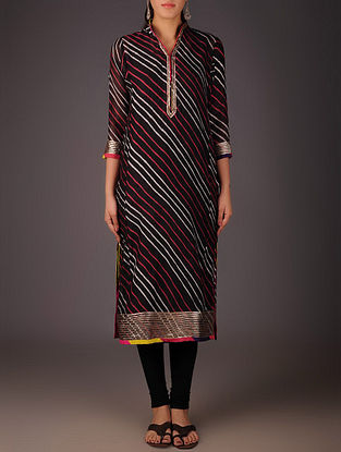 Black-Golden Maheshwari Leheriya Gota Embellished Kurta with Lining