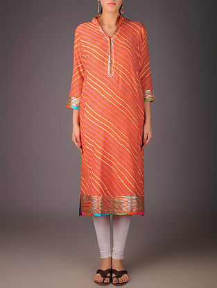 Orange-Golden Maheshwari Leheriya Gota Embellished Kurta with Lining