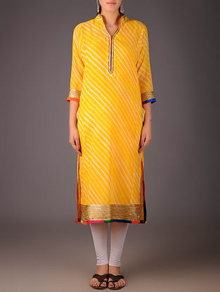 Yellow-Golden Maheshwari Leheriya Gota Embellished Kurta with Lining