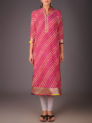 Fuschia-Golden Maheshwari Leheriya Gota Embellished Kurta with Lining