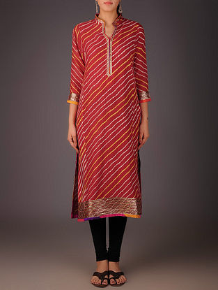 Red-Golden Maheshwari Leheriya Gota Embellished Kurta with Lining