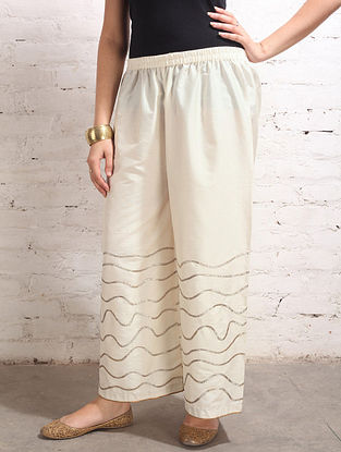 White Gota Work Cotton-Silk Palazzos
