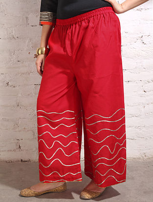 Red Gota Work Cotton-Silk Palazzos