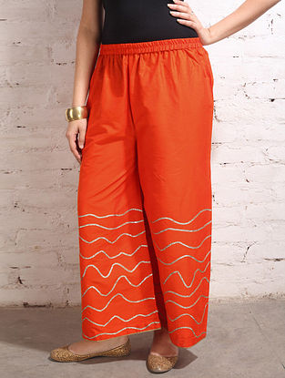 Orange Gota Work Cotton-Silk Palazzos