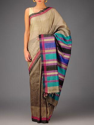 Beige-Multi-Color Tussar Dupion Silk Handwoven Saree