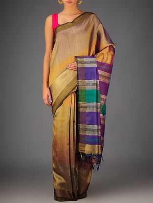 Multi-Color Tussar Dupion Silk Handwoven Saree