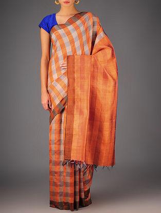 Orange-Beige Tussar Dupion Silk Handwoven Saree